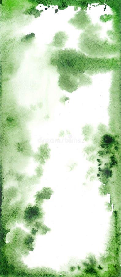 Abstrakcjonistyczna akwareli ręka malował zielonego i białego tło, royalty ilustracja