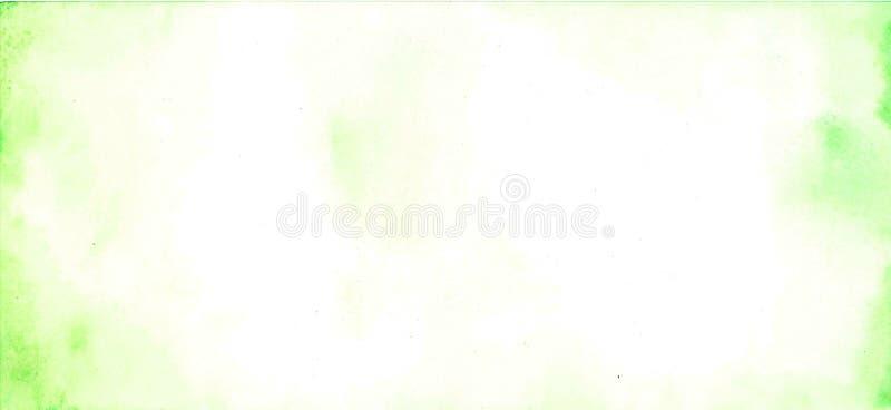 Abstrakcjonistyczna akwareli ręka malował zielonego i białego tło, ilustracji