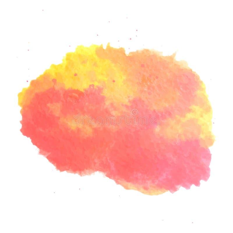 Abstrakcjonistyczna akwareli sztuki ręki farba odizolowywająca na białym tle Akwareli plamy E ilustracja wektor