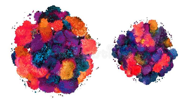 Abstrakcjonistyczna akwareli tekstura, bionic forma, dynamiczna kolor czerwie? i b??kit, Dynamiczny rozw?j wzrost Dla t?a Odizolo ilustracja wektor
