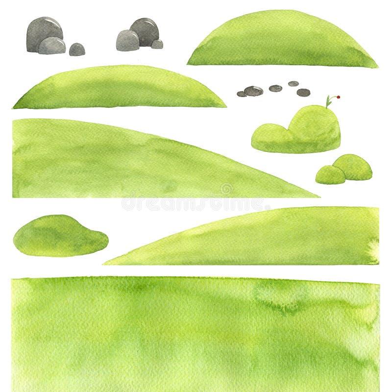 Abstrakcjonistyczna akwareli tekstura, krajobrazowi elementy, odosobniona ilustracja, kamienie royalty ilustracja