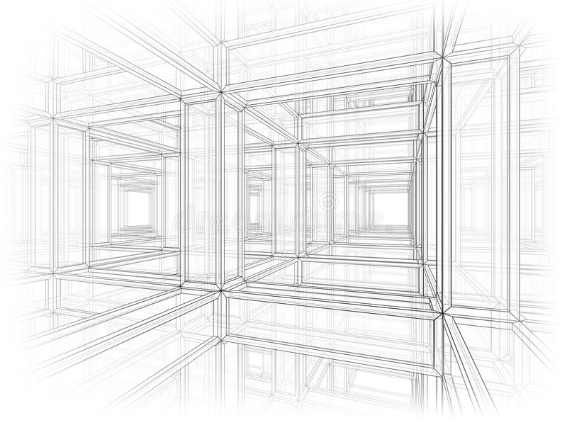abstrakcjonistyczna architektury tła perspektywa royalty ilustracja