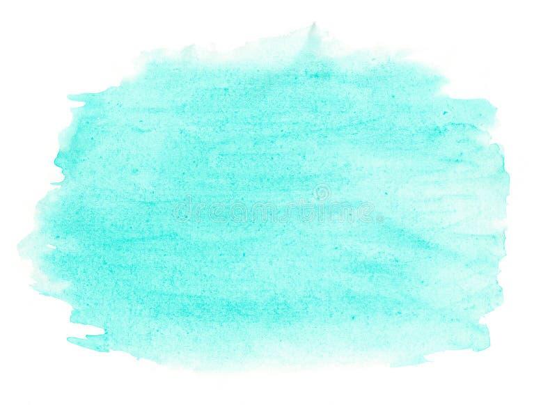 Abstrakcjonistyczna atrament tekstury muśnięcia tła turkusu zieleni aquarel akwareli pluśnięcia ręki farba na białym tle zdjęcia stock