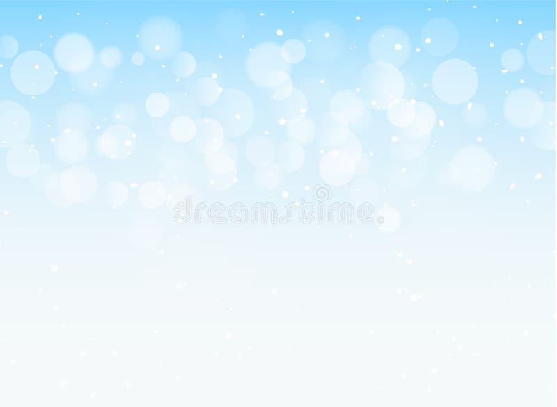 Abstrakcjonistyczna błękita światła bokeh xmas karty błyskotliwości dekoracja Bożenarodzeniowy błyszczący niebo wzoru tło ilustracja wektor