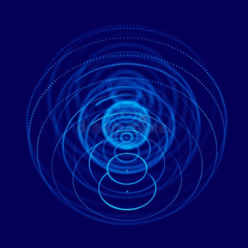 Abstrakcjonistyczna błękita 3d sfera robić punkty Futurystyczny technologia styl Sfer cz?steczki Plexus skutek ?wiadczenia 3 d ilustracja wektor