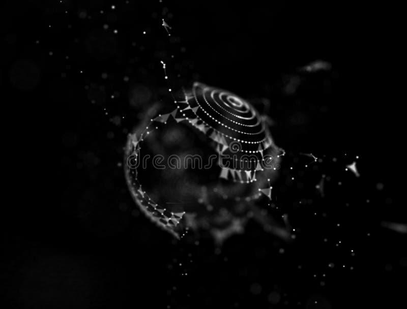 Abstrakcjonistyczna błękita 3d siatki Iluminowałam zniekształcająca sfera stadium neonowy ny szyldowy jankes Futurystyczny techno fotografia stock