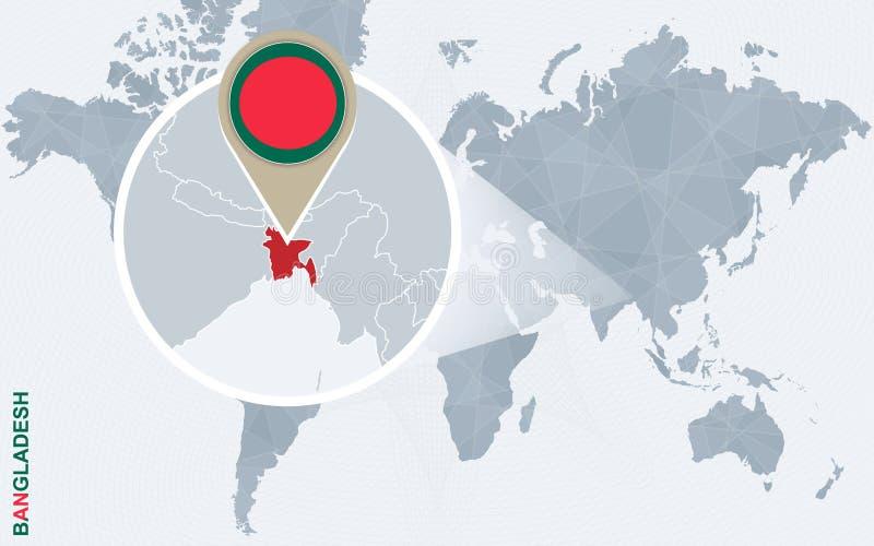 Abstrakcjonistyczna błękitna światowa mapa z powiększającym Bangladesz royalty ilustracja