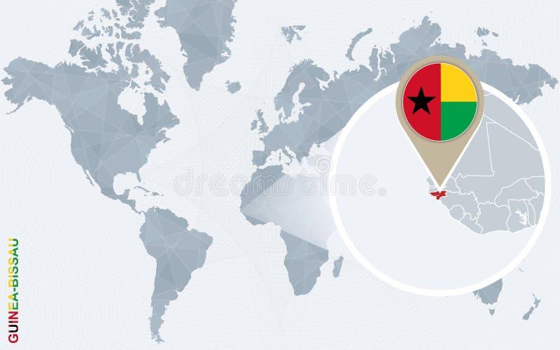 Abstrakcjonistyczna błękitna światowa mapa z powiększającym Bissau ilustracja wektor
