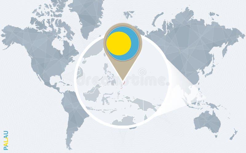 Abstrakcjonistyczna błękitna światowa mapa z powiększającym Palau royalty ilustracja