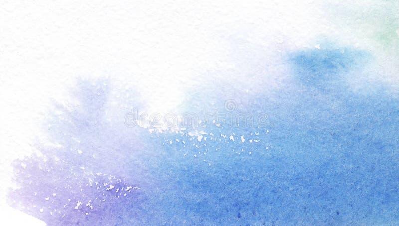 Abstrakcjonistyczna błękitna akwarela na białym tle Farb pluśnięcia na papierze patroszonej twarzy ręki ilustracyjne s kobiety ilustracja wektor