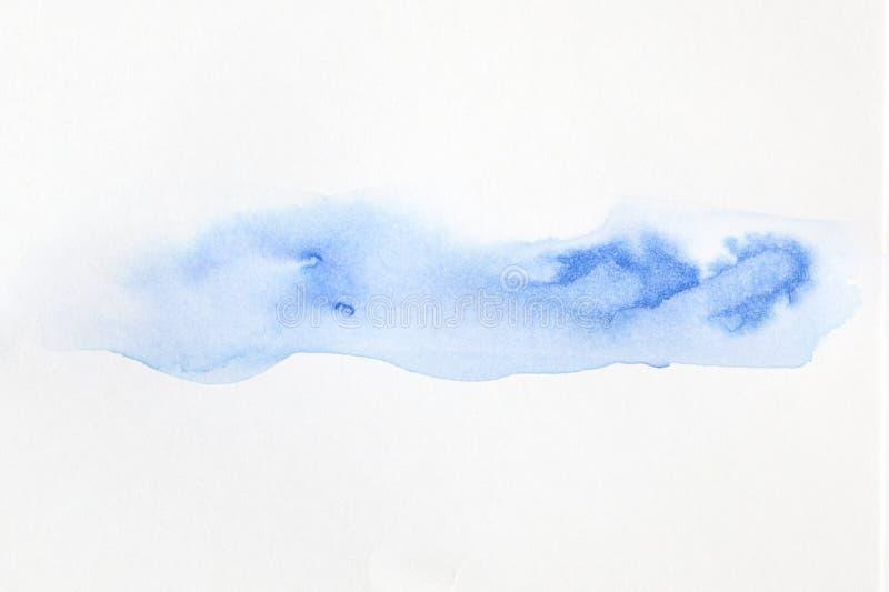 Abstrakcjonistyczna błękitna akwareli sztuki farba na białym tle, obrazy royalty free