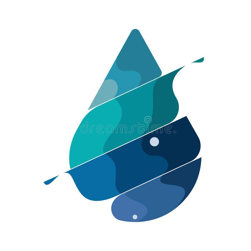 Abstrakcjonistyczna błękitna błyszcząca kropla wodny tło, kreatywnie pojęcie, mozaiki wody kropli logo, ikona, aqua znak, ilustracji
