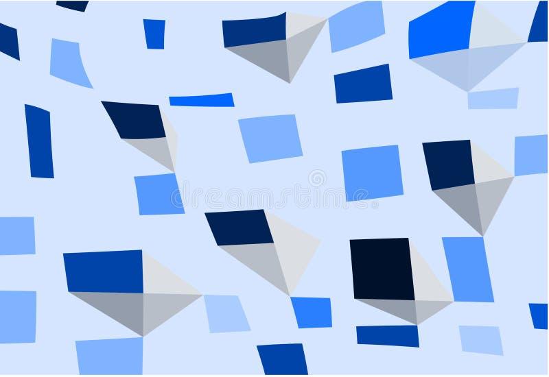 Abstrakcjonistyczna błękitna geometryczna mozaika kształtuje tło wektoru ilustrację ilustracji
