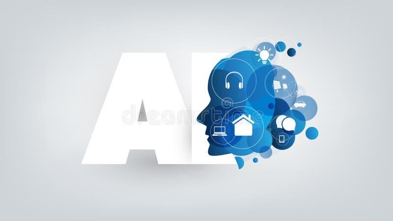 Abstrakcjonistyczna Błękitna i Biała technologia cyfrowa, Maszynowy uczenie, Sztuczna inteligencja, Cloud Computing, głosu asyste ilustracja wektor