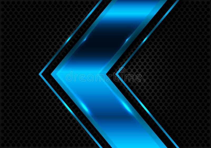 Abstrakcjonistyczna błękitna strzała na ciemnego okrąg siatki projekta nowożytnym futurystycznym wektorze ilustracji