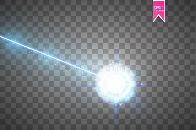 Abstrakcjonistyczna błękitna wiązka laserowa Laserowy ochrona promień odizolowywający na przejrzystym tle Lekki promień z jarzeni ilustracja wektor