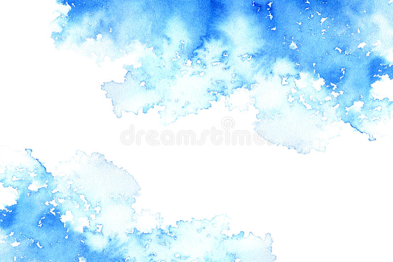 Abstrakcjonistyczna błękitna załzawiona rama Nadwodny tło Atramentu rysunek royalty ilustracja