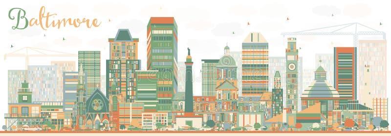 Abstrakcjonistyczna Baltimore linia horyzontu z kolorów budynkami ilustracja wektor