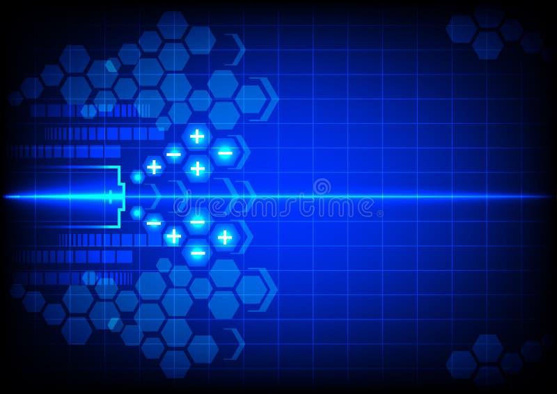 Abstrakcjonistyczna bateryjna energia na błękitnym koloru tle ilustracja wektor