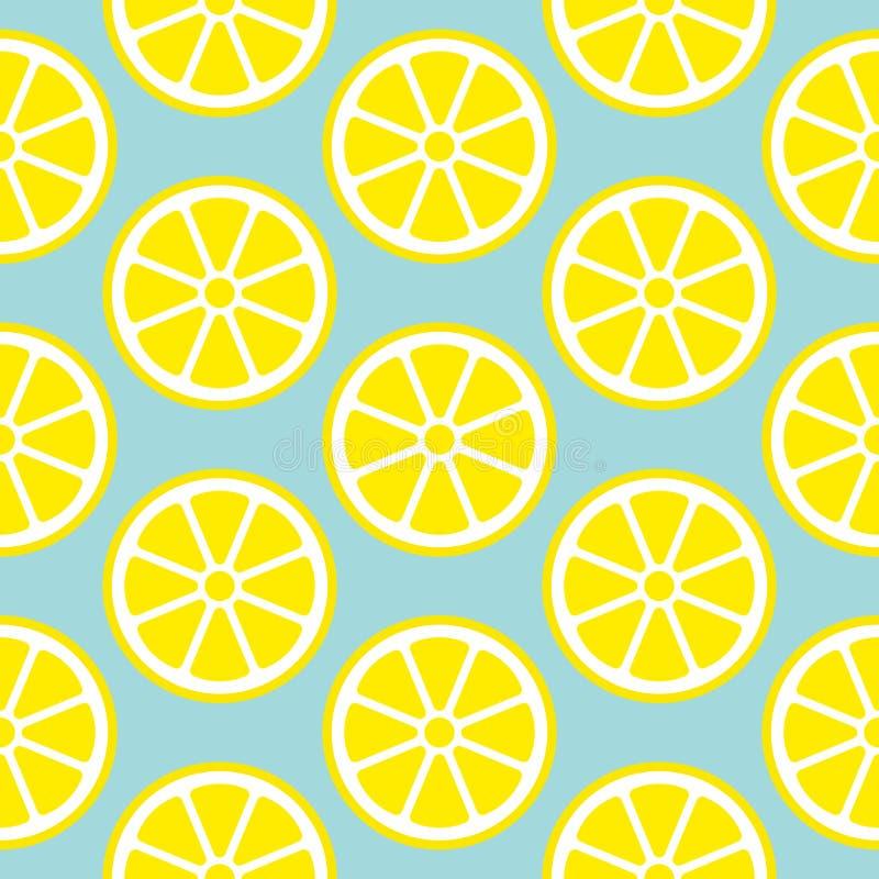 Abstrakcjonistyczna Bezszwowa Deseniowa cytryna Pokrajać kolor żółtego I błękit royalty ilustracja