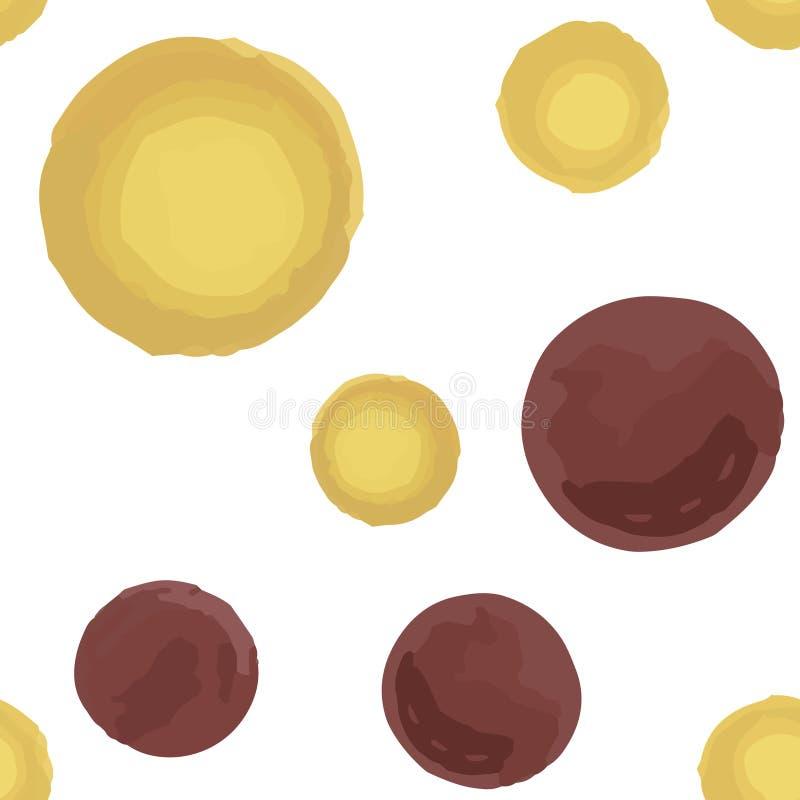 Abstrakcjonistyczna Bezszwowa Deseniowa polki kropki Prawdziwa ciemna desaturated czerwień I miękka część kolor żółty obrazy stock