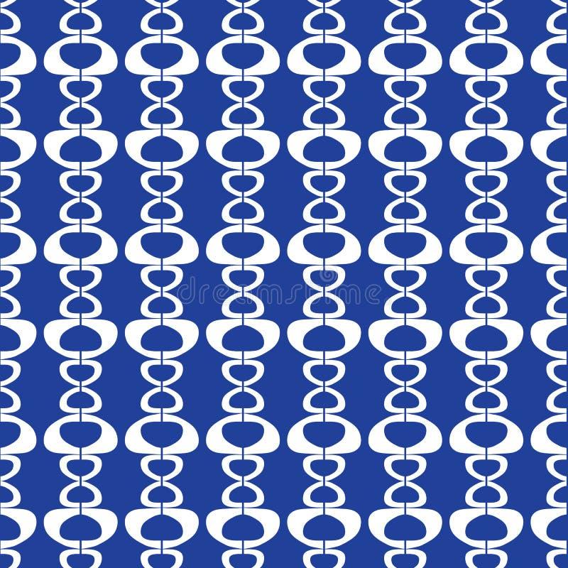 Abstrakcjonistyczna bezszwowa powtórka biel kształtuje na błękitnym tle Nowożytny geometryczny pasiasty wektorowy projekta tła id ilustracja wektor