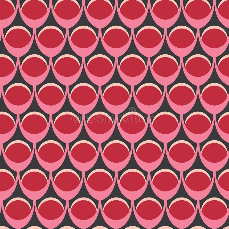 Abstrakcjonistyczna bezszwowa powtórka okrąg kształtuje w czerwieni, śmietance i czerni, Nowożytny geometryczny wektorowy projekt royalty ilustracja