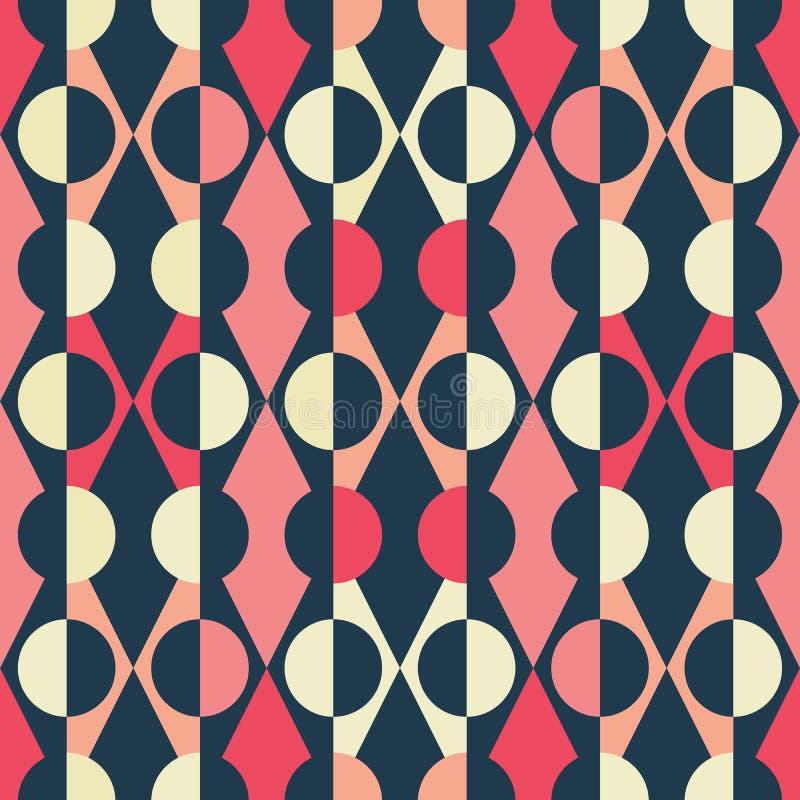 Abstrakcjonistyczna bezszwowa powtórka trójboka, diamentu i round kształty Retro geometryczny wektorowy projekta tła ideał d royalty ilustracja