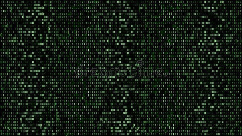 Abstrakcjonistyczna binarna matrycowa kod zieleń ilustracja wektor