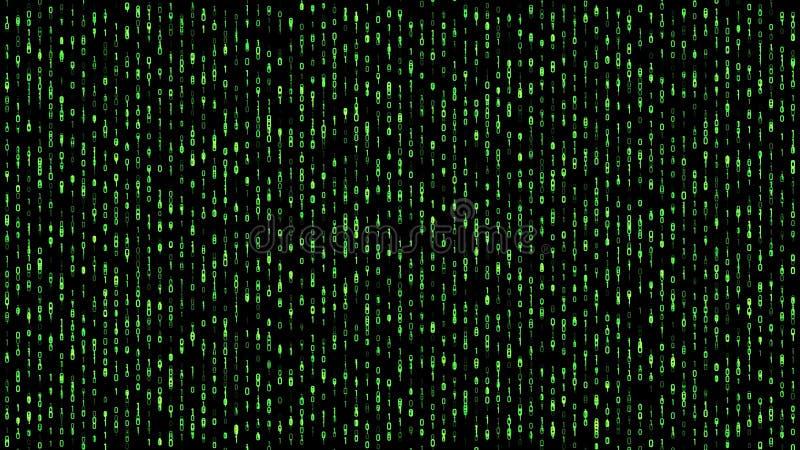Abstrakcjonistyczna binarna matrycowa spada kod zieleń ilustracji