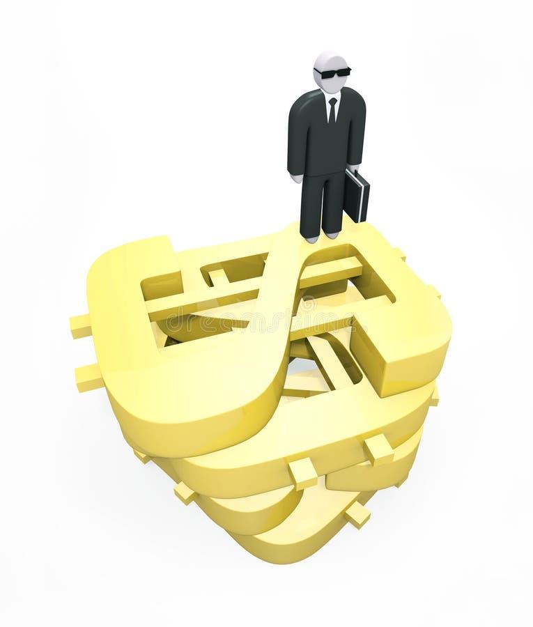 Abstrakcjonistyczna biznesmen pozycja na ogromnych złotych dolarach royalty ilustracja
