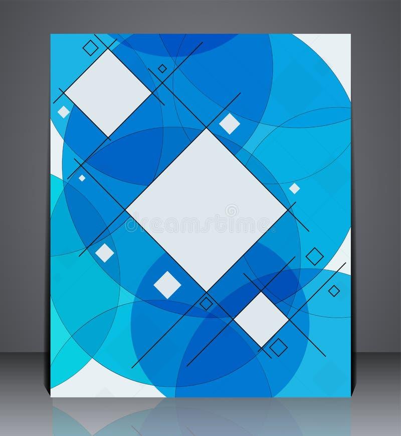 Abstrakcjonistyczna biznesowa broszurki ulotka, geometryczny projekt z kwadratami i okręgi, w A4 rozmiarze royalty ilustracja