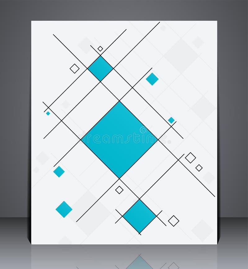 Abstrakcjonistyczna biznesowa broszurki ulotka, geometryczny projekt z kwadratami, w A4 rozmiarze ilustracji