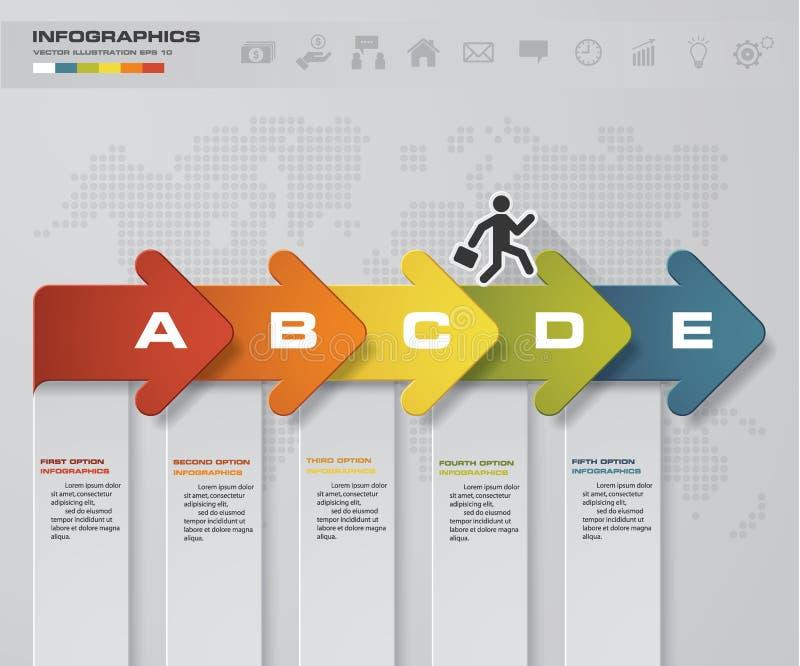 Abstrakcjonistyczna biznesowa mapa 5 kroków strzałkowaty diagram Krok po kroku pomysł ilustracji
