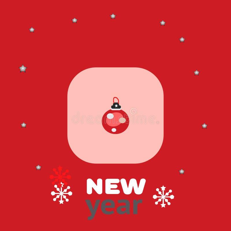 Abstrakcjonistyczna Bożenarodzeniowa piłka z wystrojem na czerwonym tle Wektor eps, nowy rok karta lub plakat, ilustracji