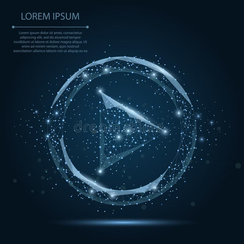 Abstrakcjonistyczna brei linia i punkt błękitnej sztuki wideo ikona na zmroku - błękitny nocne niebo z gwiazdami royalty ilustracja