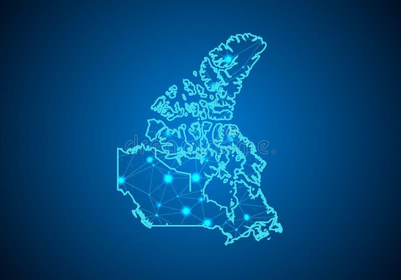 Abstrakcjonistyczna brei linia, punkt i ważymy na ciemnym tle z mapą Canada ilustracja wektor