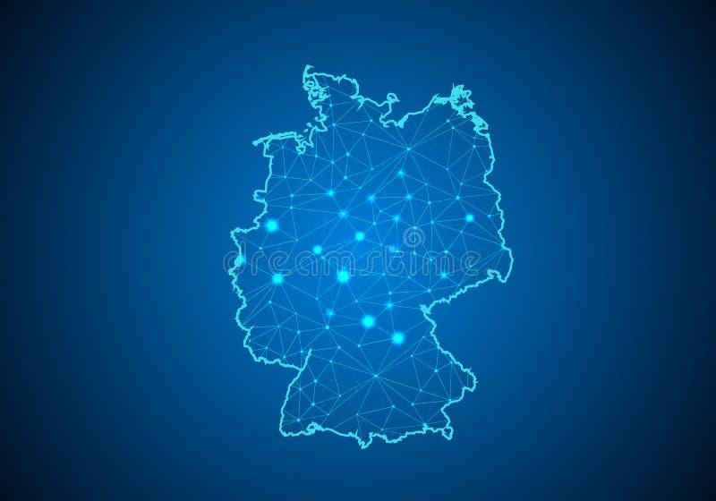 Abstrakcjonistyczna brei linia, punkt i ważymy na ciemnym tle z mapą Germany ilustracji