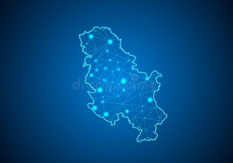 Abstrakcjonistyczna brei linia, punkt i ważymy na ciemnym tle z mapą Serbia Żadny Kosowo ilustracji