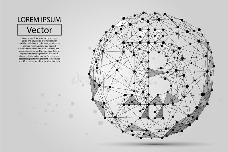 Abstrakcjonistyczna breja kreskowa i punkt Bitcoin Wektorowa biznesowa ilustracja ilustracja wektor