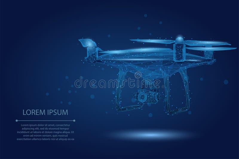 Abstrakcjonistyczna breja kreskowa i punkt Quadrocopter Poligonalny niski poli- 3D latający truteń royalty ilustracja