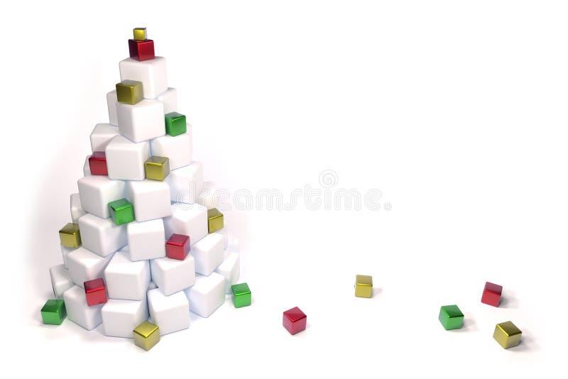 Abstrakcjonistyczna choinka biali i błyszczący sześciany zdjęcie stock