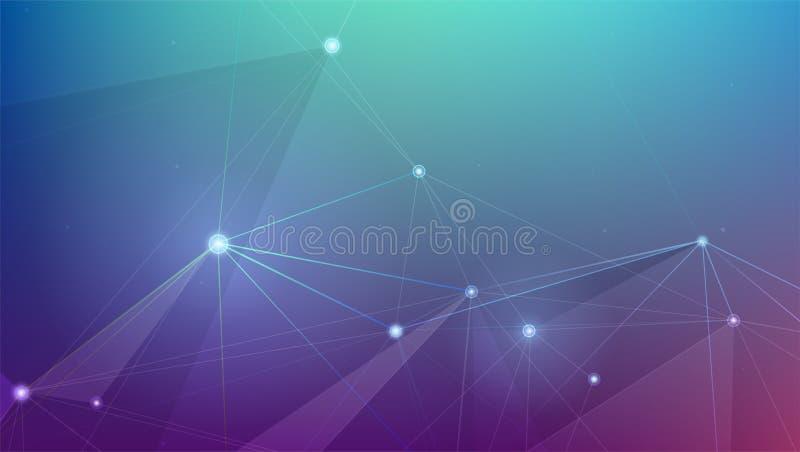 Abstrakcjonistyczna cyber plexus przestrzeń Pojęcie sieci połączenia Geometrical siatka z punktami łączącymi liniami cyfrowy ilustracja wektor