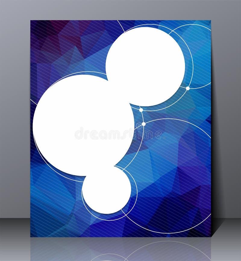 Abstrakcjonistyczna cyfrowa biznesowa ulotka, geometryczny projekt w A4 rozmiarze, układ pokrywy projekt w błękitnych kolorach ilustracja wektor