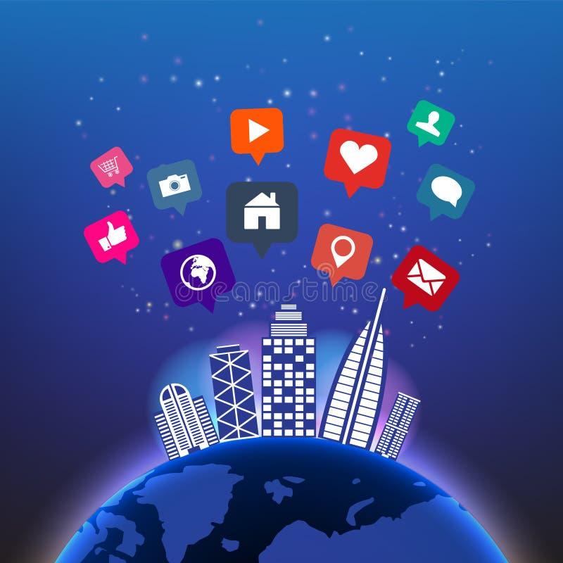 Abstrakcjonistyczna cyfrowa globalna technologia w nocnym niebie z ogólnospołecznymi medialnymi ikonami i budynku wektoru tłem Si ilustracja wektor