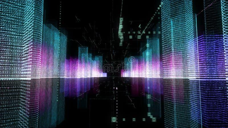 Abstrakcjonistyczna cyfrowa holograma 3D ilustracja miasto z futurystyczną matrycą royalty ilustracja