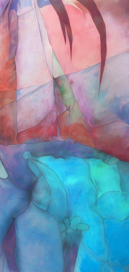 Abstrakcjonistyczna cyfrowa malująca fantazi palma ilustracja wektor