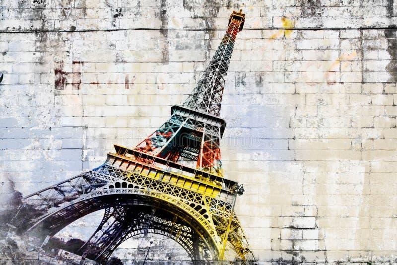 Abstrakcjonistyczna cyfrowa sztuka wieża eifla w Paryż sztuki kolorowa zakrywająca graffiti ulicy ściana ilustracja wektor