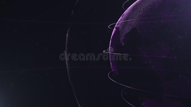 abstrakcjonistyczna cząsteczka r Fiołkowa planeta wśrodku bielu veilted jeden, tworzy kropki Sumaryczny czarny dackdrop trochę royalty ilustracja