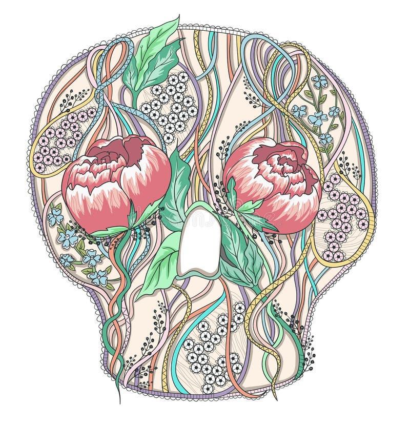 Abstrakcjonistyczna czaszka z peonia kwiatami royalty ilustracja